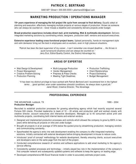 marketing production manager marketing resume sles