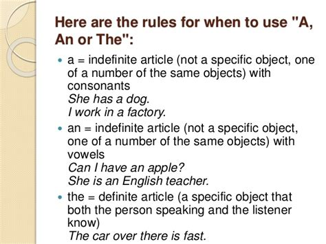 Use Of Articles In English