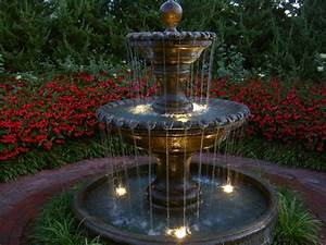 Outdoor, Fountains, With, Lights