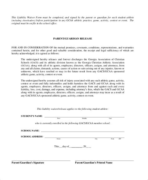 sle liability waiver form 10 exles in word pdf