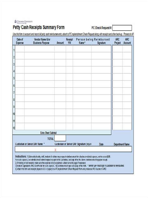 Petty Summary Template by 8 Petty Reimbursement Form Sle Free Sle