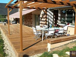 terrasse bois avec pergola varetz correze 19 realisation With terrasse bois avec pergola