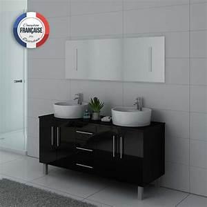 Meuble Salle De Bain Asymétrique : meuble de salle de bain double vasque noir dis989n ~ Nature-et-papiers.com Idées de Décoration
