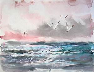 Vista sul mare dell'acquerello Pittura Foto Stock © yakimenko #112418264