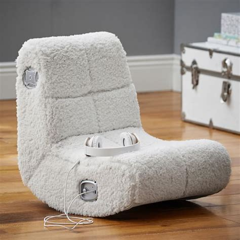 ivory sherpa faux fur mini rocker speaker chair pbteen
