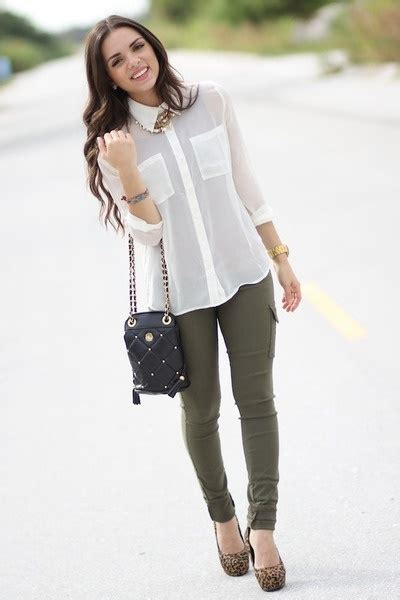 White blouse olive green pants | f a s h i o n | Pinterest | Leopard shoes Pants and Jean outfits