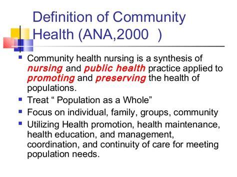 nursing community definition health ana effort efficiency