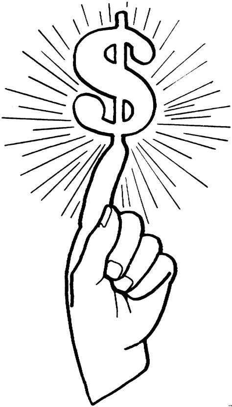 hand mit dollarzeichen ausmalbild malvorlage geld