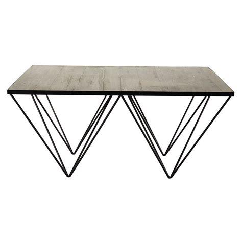 table basse carr 233 e en bois recycl 233 et m 233 tal l 100 cm maisons du monde