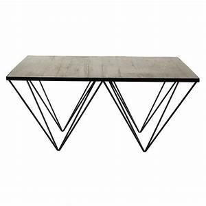 Table Basse Bois Et Metal : table basse carr e en bois recycl et m tal l 100 cm ~ Dallasstarsshop.com Idées de Décoration