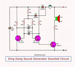 2 Tone Doorbell Circuit Using Transistors