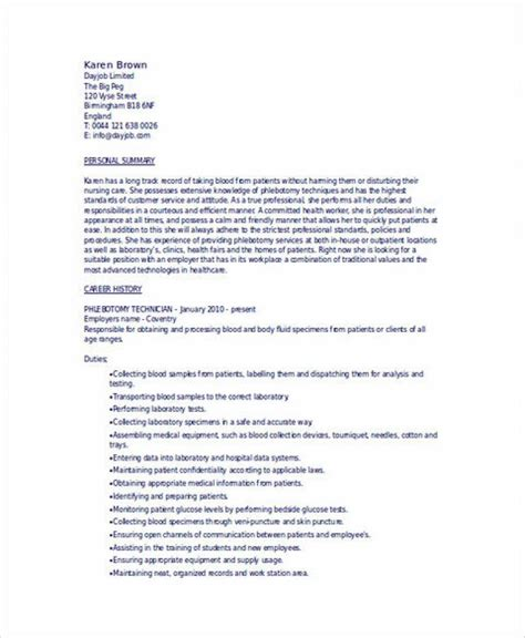 resume outline and tips phlebotomy resume sle and tips phlebotomy stuff