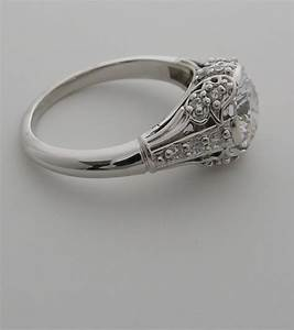 Beautiful art deco antique style diamond accent engagement for Vintage wedding ring settings