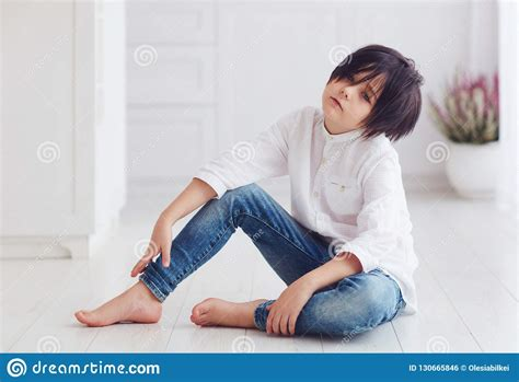 Young Calm Boy, Anime Character, Sitting Barefoot On The