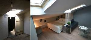 studio lit sous pente idee de separation entre le mini With amenagement chambre 2 lits