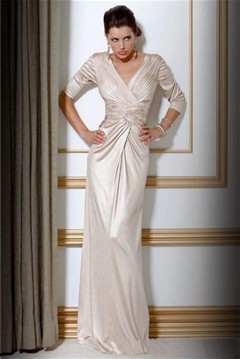 elegant slim sheath  neck long ivory silk evening dress