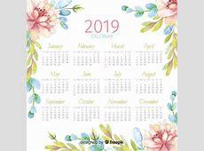 Watercolor 2019 calendar Vector Free Download