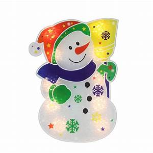 12, 5, U0026quot, Lighted, Holographic, Snowman, Christmas, Window, Silhouette, Decoration, Snowman, Holographic