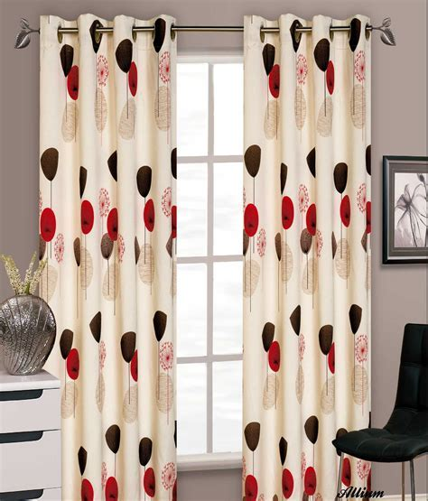 STYLISH FLORAL RING TOP EYELET LINED CURTAINS FAUX SILK
