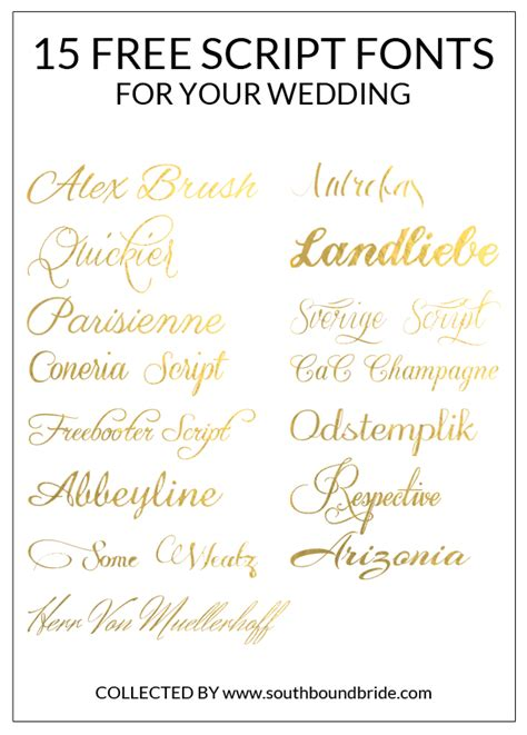 15 Free Script Fonts For Your Wedding  Southbound Bride