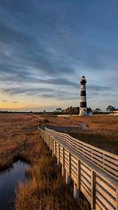 Bodie Island Lighthouse Along North Carolina Outer Banks Just Before Dawn  Usa