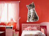 good looking cat wall decals WALL STICKERS CAT Small Cat KITTEN Vinyl Decal Mural ...