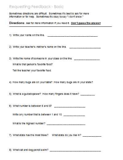 Following Directions  Worksheets, Activities, Goals, And More  Free Language Stuff