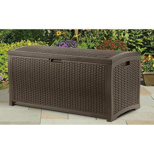 suncast 73 gallon outdoor patio storage box wicker resin deck box store it in style with sears
