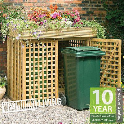 wooden double wheelie bin store dustbin storage