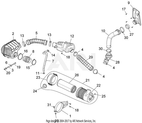 gravely 996200 150101 159999 atlas jsv 3000 gas base parts diagram for air intake system