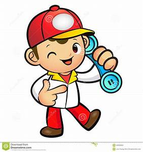 Stock Images: Red Delivery Man Mascot To answer a phone ...