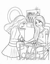 Coloring Barbie Salon Beauty Coloringbay Pdf sketch template