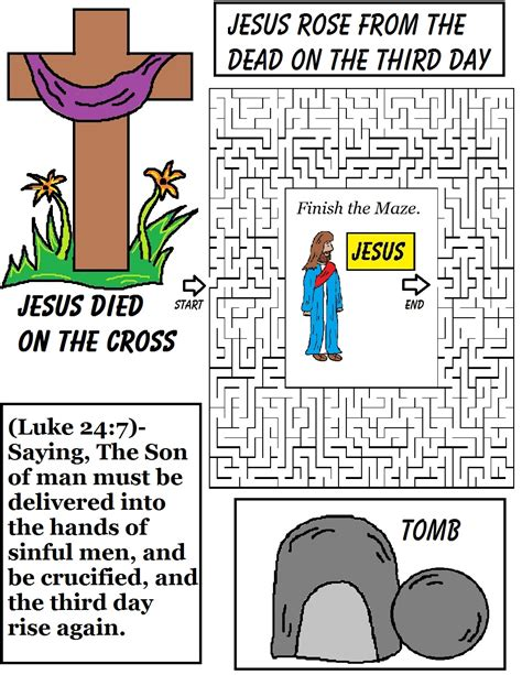 easter sunday school lesson 393 | Jesus%20rose%20from%20the%20dead%20on%20the%20third%20day%20maze