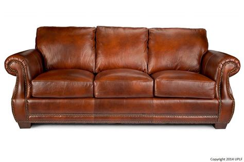 traditional top grain leather sofa with nailhead trim by