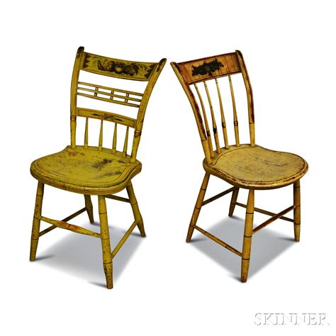 two stenciled and paint decorated fancy chairs sale