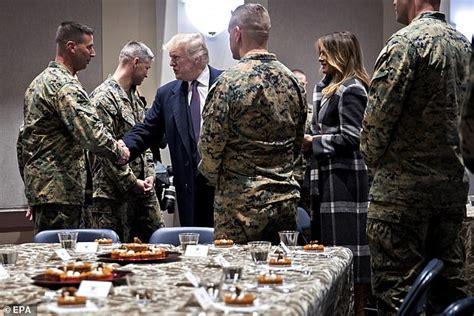 trump cemetery he sit arlington spoke couldn marines enjoying hear reception dessert saying president press head