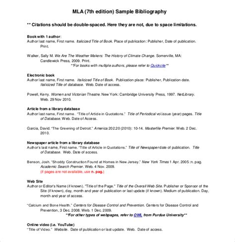 mla citation template mla format annotated bibliography spaced