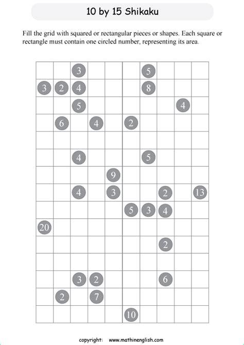 grid shikaku logic puzzles  math students