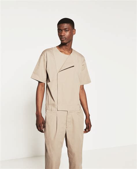 mens jumpsuit zara jumpsuit in brown for lyst