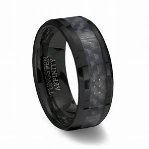Black Ceramic Ring Black Carbon Fiber Inlay