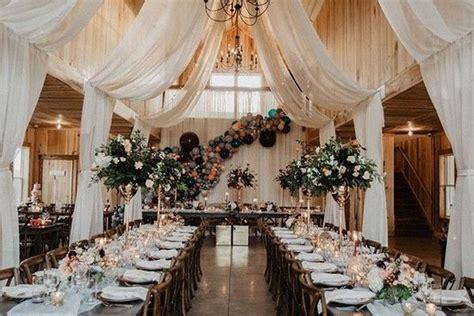 rustic barn wedding reception ideas  draped fabric