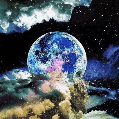 Moon Trippy Galaxy Space Stars Psychedelic Universe