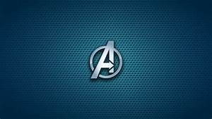 The Avengers Emblems Logos Blue Background Symbols