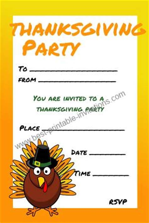 kids thanksgiving invitations  printable invites