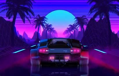Neon Lamborghini 80s Retro Wallpapers Sun 1080