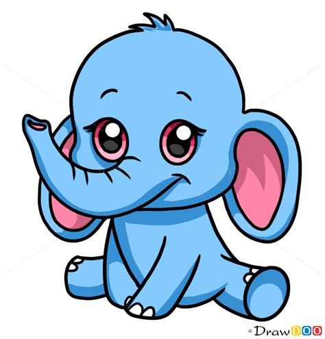 cute elephant drawing   draw cute anime animals
