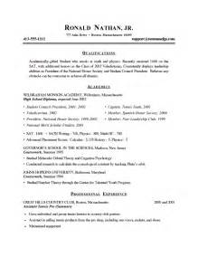 My College Resume by Resume Exles For College Students