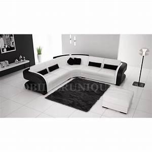 Canapé Noir Pas Cher : canap d 39 angle cuir blanc et noir design pas cher achat vente canap sofa divan cuir ~ Dode.kayakingforconservation.com Idées de Décoration