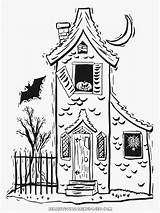 Coloring Halloween Haunted Pages Printable Drawings Realistic Houses Titan Posted Spooky sketch template