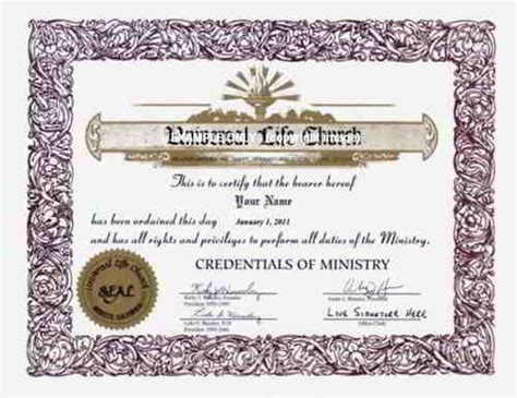 certificate of wiccan ordination template free ordination credential universal life church credential